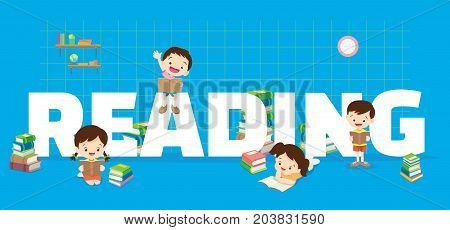 Reading concept illustration of Students Boy and Girl Reading and learning various actions with elements Books shelves around big Letter.