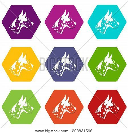 Great dane dog icon set many color hexahedron isolated on white vector illustration