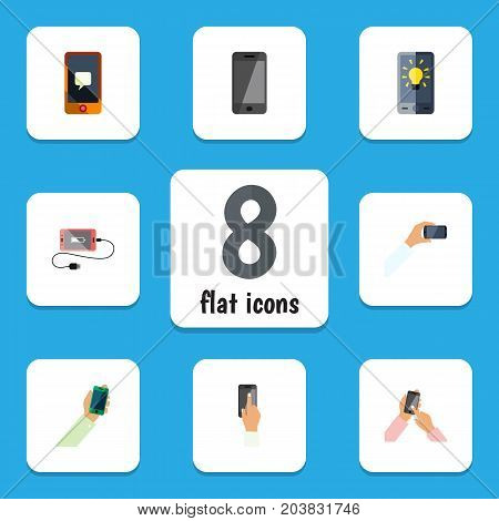 Flat Icon Phone Set Of Screen, Accumulator, Touchscreen And Other Vector Objects