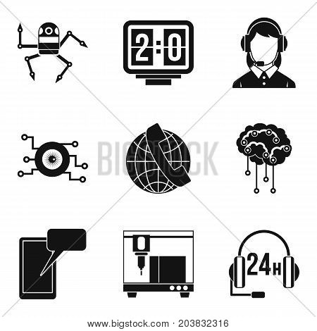Technology call center icon set. Simple set of 9 technology call center vector icons for web design isolated on white background