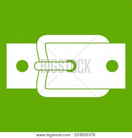 Metal belt buckle icon white isolated on green background. Vector illustration