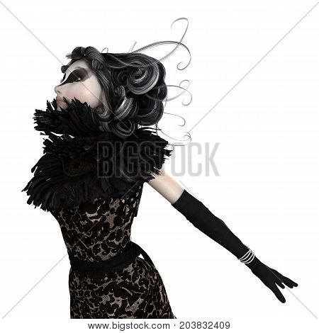 3D rendering of a fairy tale witch isolated on white background