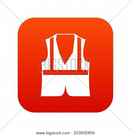 Vest icon digital red for any design isolated on white vector illustration