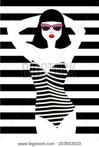 Beautiful young woman with sunglasses, retro style. Pop art. Vector eps10 illustration.