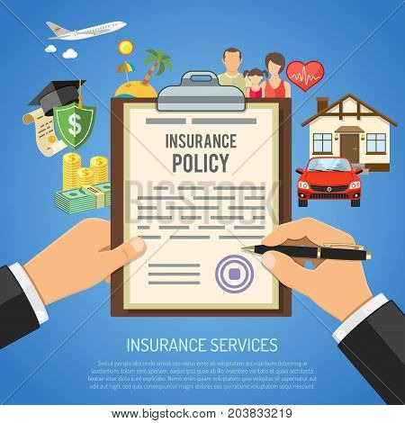 Insurance Services Concept with hands holds insurance policy and flat icons House, Education, Money and Family. isolated vector illustration