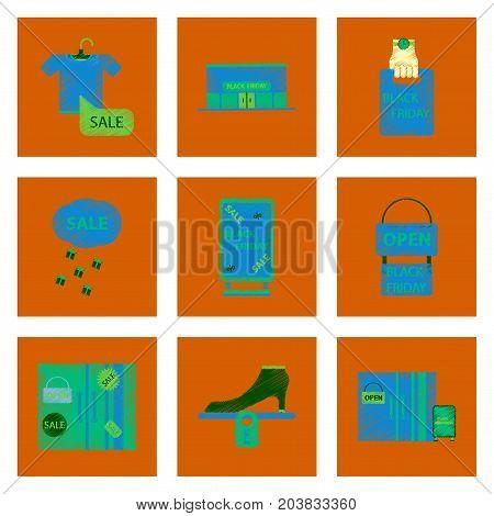 assembly of flat shading style icon Black Friday set