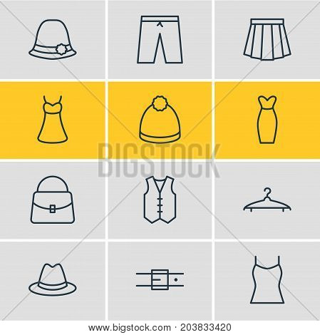 Editable Pack Of Panama, Singlet, Evening Dress And Other Elements.  Vector Illustration Of 12 Clothes Icons.