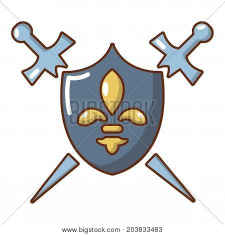 Knight shield and swords icon. Cartoon illustration of shield and swords vector icon for web design