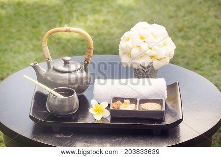 Spa still life - spa items arranged on the table