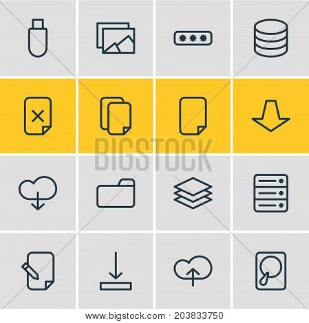 Editable Pack Of Remove, Upload, Flash Drive And Other Elements.  Vector Illustration Of 16 Archive Icons.