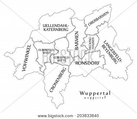 Modern City Map - Wuppertal City Of Germany With Boroughs And Titles De Outline Map