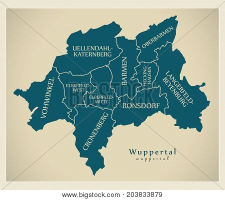 Modern City Map - Wuppertal City Of Germany With Boroughs And Titles De