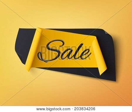 Black and yellow abstract sale banner, isolated on orange background. Template for poster or brochure. Vector illustration.