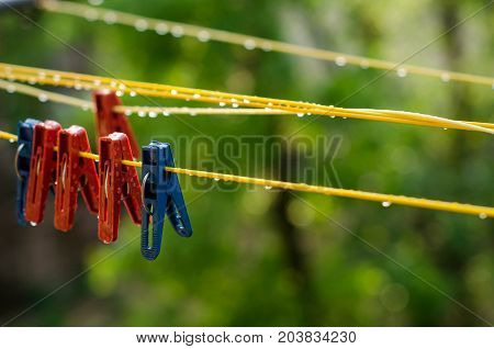 Clothespins On The Clothesline