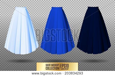 Vector illustration of different model skirt on transparent background. pleated skirt mock up. Light, bright and dark blue variation.