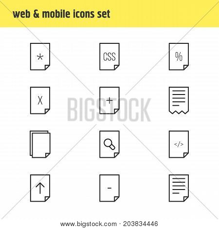 Editable Pack Of Copy, Basic, Document And Other Elements.  Vector Illustration Of 12 Document Icons.