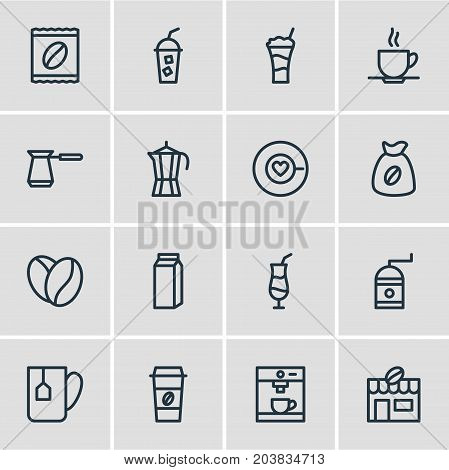 Editable Pack Of Mug, Coffeemaker, Seed And Other Elements.  Vector Illustration Of 16 Drink Icons.