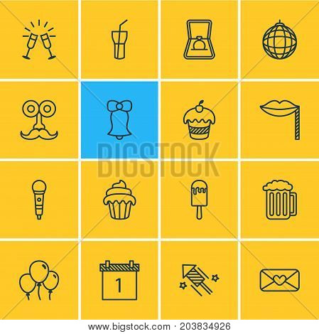 Editable Pack Of Decoration, Cupcake, Date Block And Other Elements.  Vector Illustration Of 16 Banquet Icons.