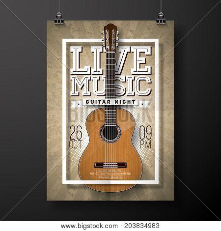 Live music flyer design with acoustic guitar on grunge background . Vector illustration