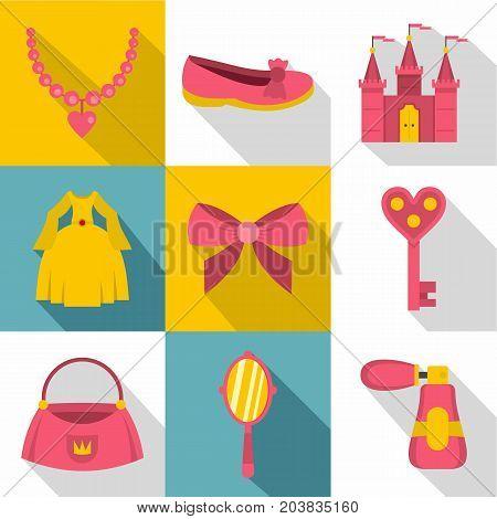 Little princess icon set. Flat style set of 9 lttle princess vector icons for web design