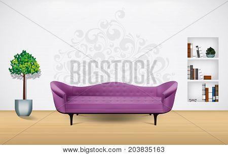 Living room interior concept - stock illustration