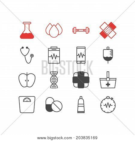 Editable Pack Of Antibiotic, Flask, Phone Monitor And Other Elements.  Vector Illustration Of 16 Medical Icons.