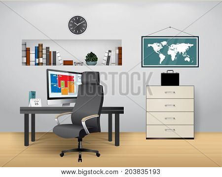 Home office- work at home concept - stock illustration