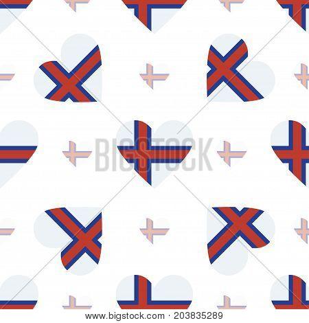Faroe Islands Flag Patriotic Seamless Pattern. National Flag In The Shape Of Heart. Vector Illustrat