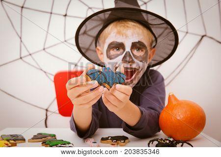 little boy prepare for Halloween party, Halloween celebration