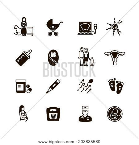 Pregnant mom and baby vector icons. Woman gynecology and pregnancy black silhouette symbols isolated. Illustration of silhouette pregnant woman, motherhood and gynecology, maternity and childbirth