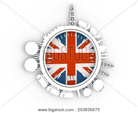 Circle with energy relative silhouettes. Design set of natural gas industry. Objects located around the manometer circle. 3D rendering. Flag of the Great Britain