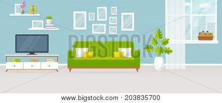 Interior of the living room. Vector banner. Design of a cozy room with sofa TV stand window and decor accessories.
