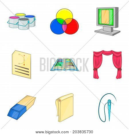 Painter icons set. Cartoon set of 9 painter vector icons for web isolated on white background