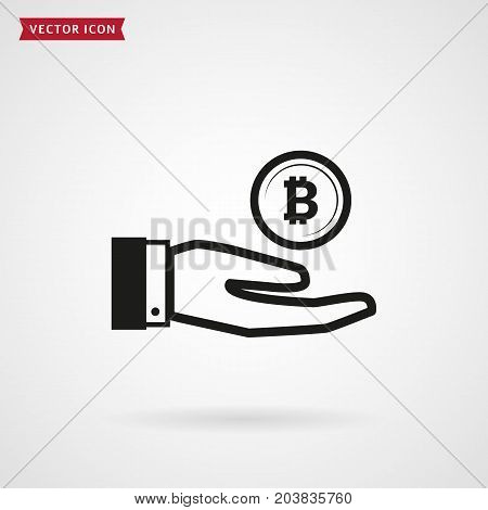 Hand with bitcoin. Crypto money profit concept. Vector icon. Cryptocurrency symbol isolated on white background.