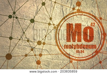 Molybdenum chemical element. Sign with atomic number and atomic weight. Chemical element of periodic table. Molecule And Communication Background. Connected lines with dots. Grunge distress texture.