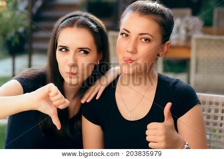 Funny Girls with Thumbs up and Thumbs Down Rating Different The Same Situation