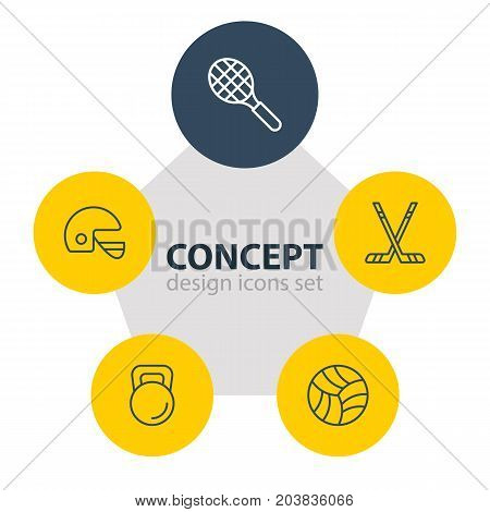 Editable Pack Of Hockey, Rocket, Weight And Other Elements.  Vector Illustration Of 5 Sport Icons.