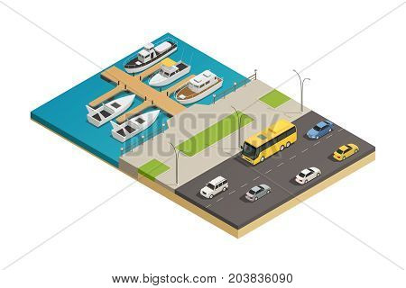 Sea waterfront watercraft mooring quay and motorway road transport isometric composition with vessel and motorboats vector illustration