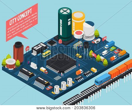 Colored technology semiconductor electronic components isometric city concept with city concept description vector illustration