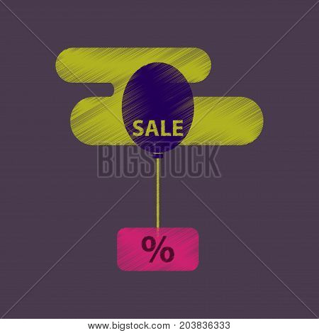 flat shading style icon sale Balloon in the sky