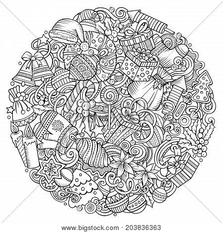 Cartoon vector doodles New Year illustration. Line art, detailed, with lots of objects background. All objects separate. Contour Christmas funny round picture