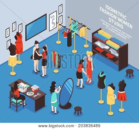 Atelier studio and fashion background with women and clothes isometric vector illustration