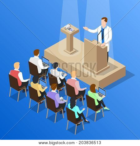 Isometric people doctor composition with faceless human character unveiling pressure measuring instrument on medical conference vector illustration