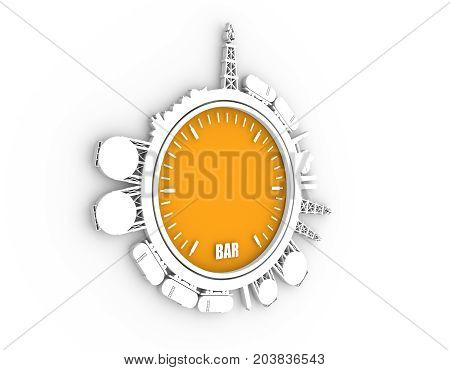 Circle with energy relative silhouettes. Design set of natural gas industry. Objects located around the manometer circle. 3D rendering