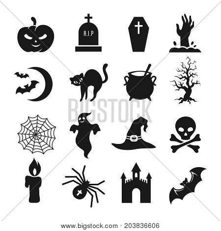 Halloween black silhouette icons. Pumpkin and spider, bat and tombstone vector silhouettes