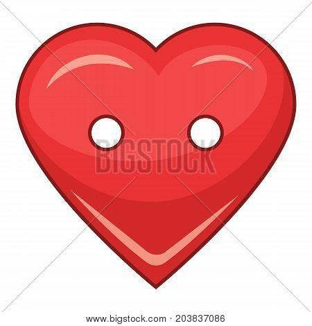 Heart cloth button icon. Cartoon illustration of heart cloth button vector icon for web