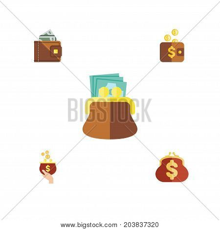 Flat Icon Purse Set Of Payment, Pouch, Saving And Other Vector Objects