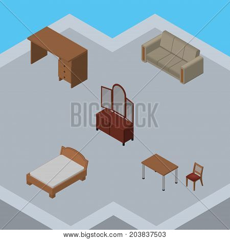 Isometric Design Set Of Couch, Chair, Bedstead And Other Vector Objects