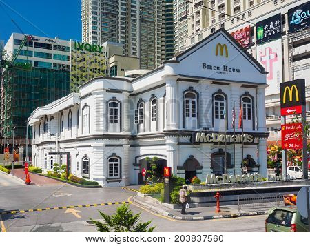 Penang Malaysia - April 24 2017: The Birch House the heritage building which is now the McDonald's restaurant in Penang Times Square George town Penang Malaysia.