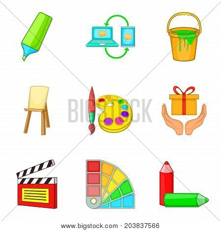Craftsmanship icons set. Cartoon set of 9 craftsmanship vector icons for web isolated on white background